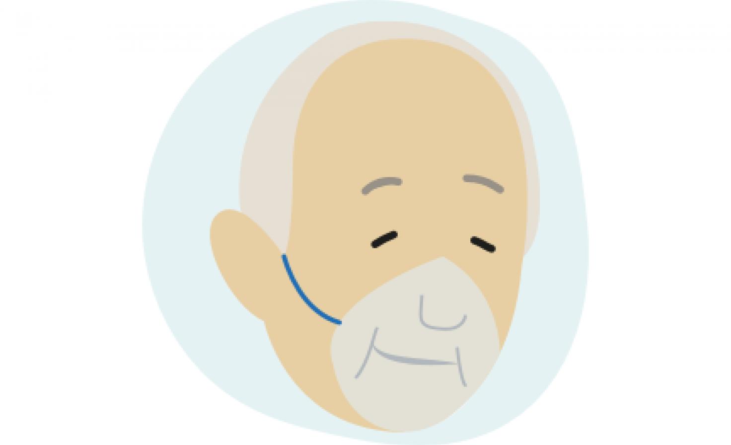 Schematische Darstellung eines Mannes, der eine Sauerstoffmaske trägt.