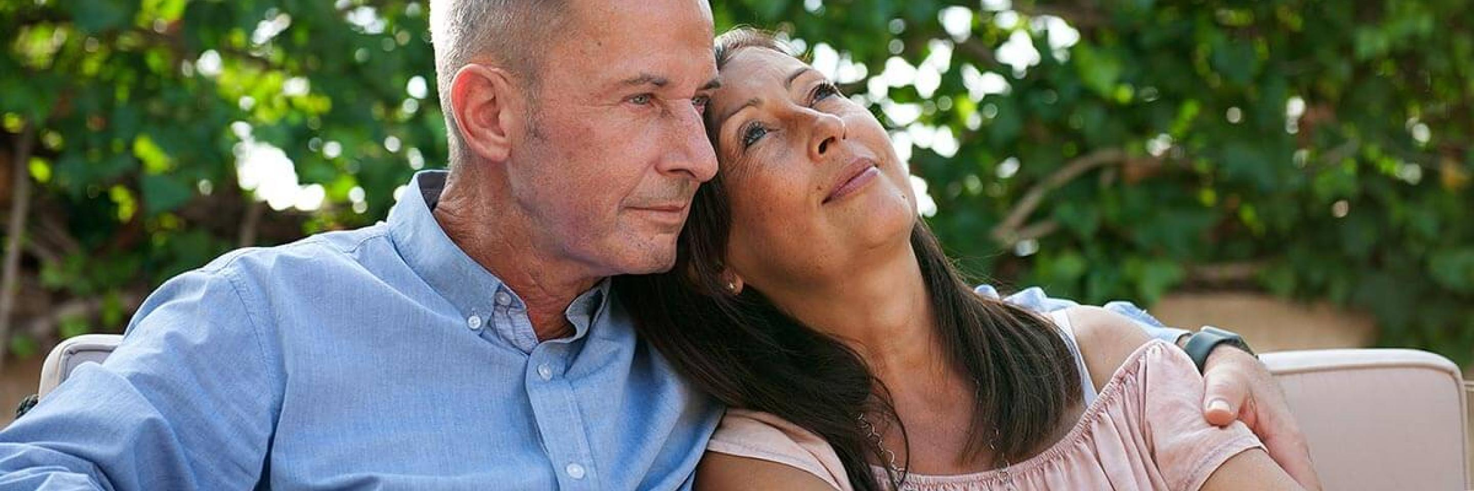 Mature couple looking peaceful